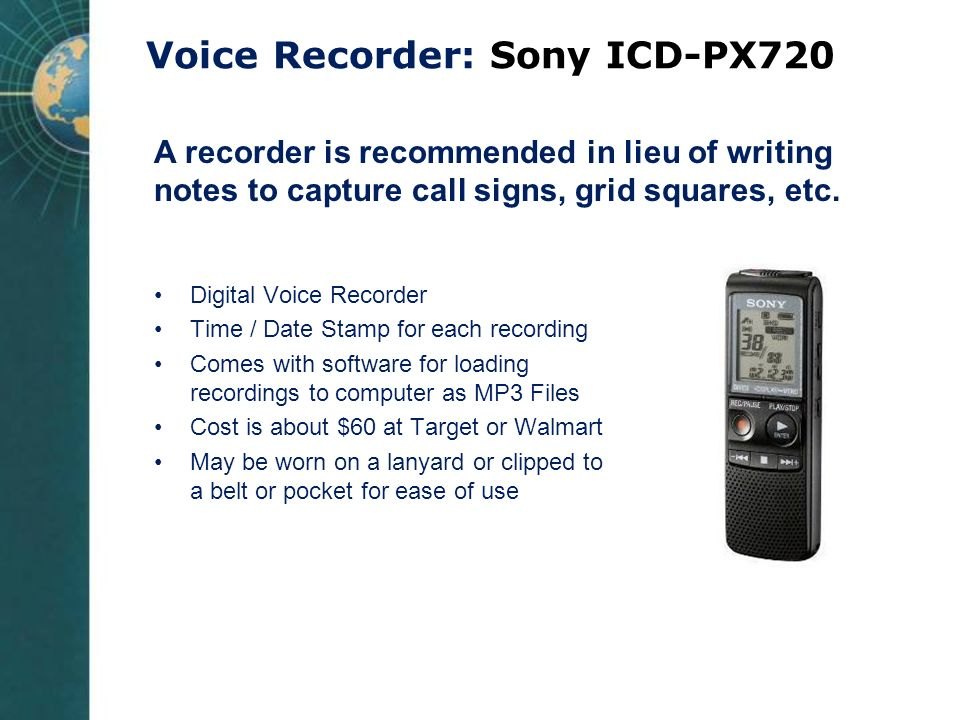 Voice Recorder: Sony ICD-PX720