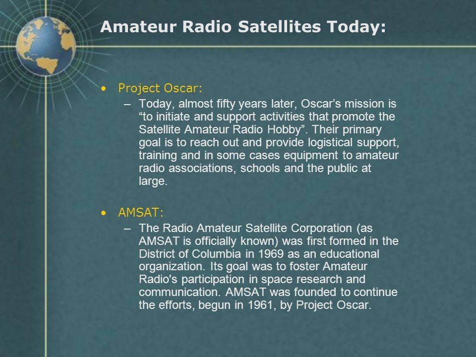 Amateur Radio Satellites Today: