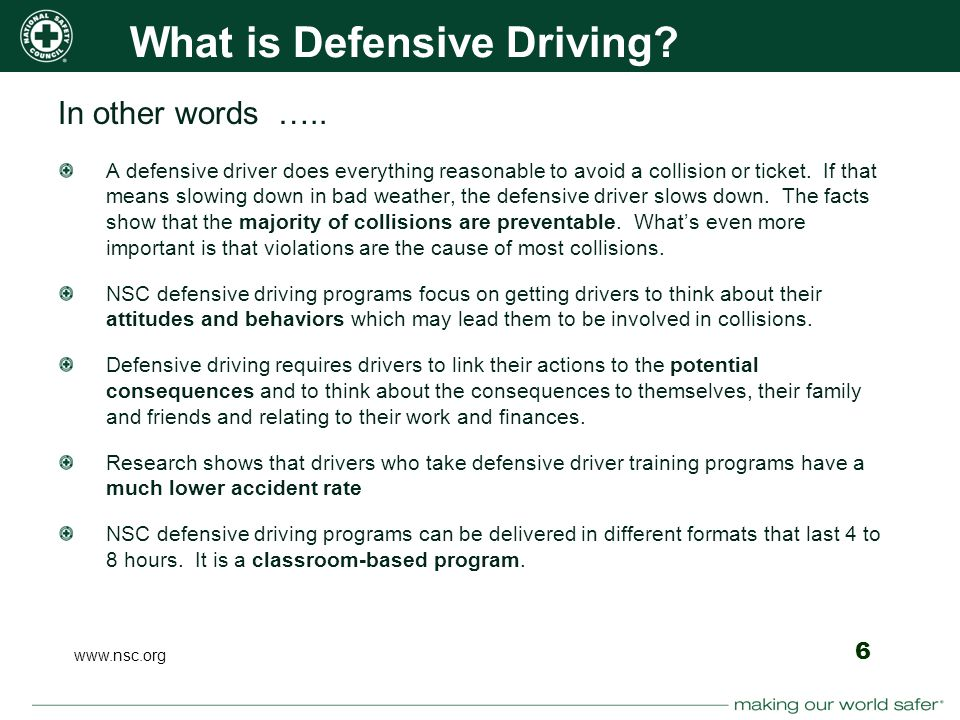 the importance of defensive driving a driving skill Our course teaches advanced defensive driving skills to make sure you are ready for whatever the road brings our engaging, interactive video course is perfect for drivers of all skill levels learn new, advanced techniques or refresh your skills for the road.