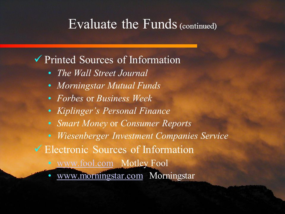 evaluate sources of finance After those six months you must have evaluated the performance of your  in  tanzania the mostly used informal sources of finance includes.