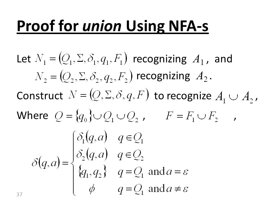 Proof for union Using NFA-s