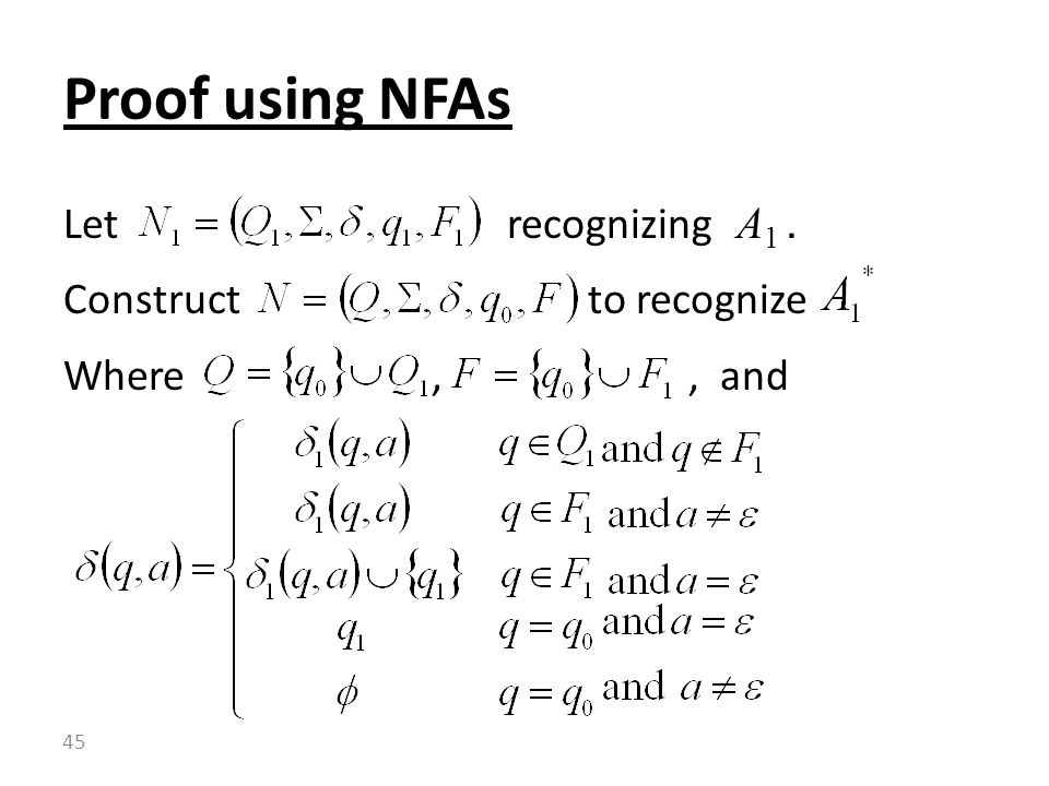 Proof using NFAs Let recognizing A1 . Construct to recognize