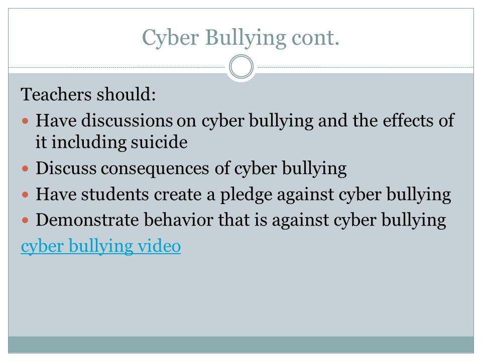 a discussion on the issue of cyber bullying The impact of bullying bullying has a negative impact on belonging to a minority group, where isolation or lack of community support is an issue.
