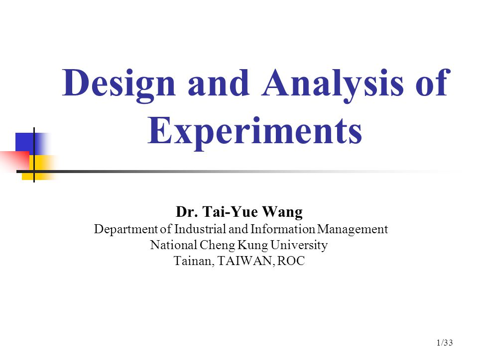 Design And Analysis Of Experiments Ppt Video Online Download