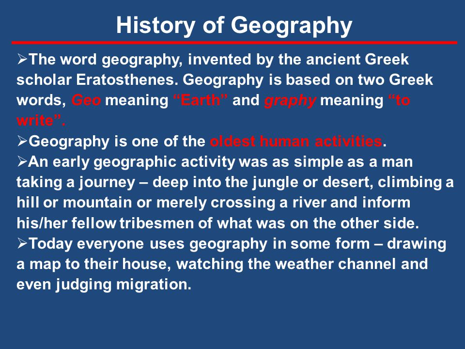The introduction of geography today