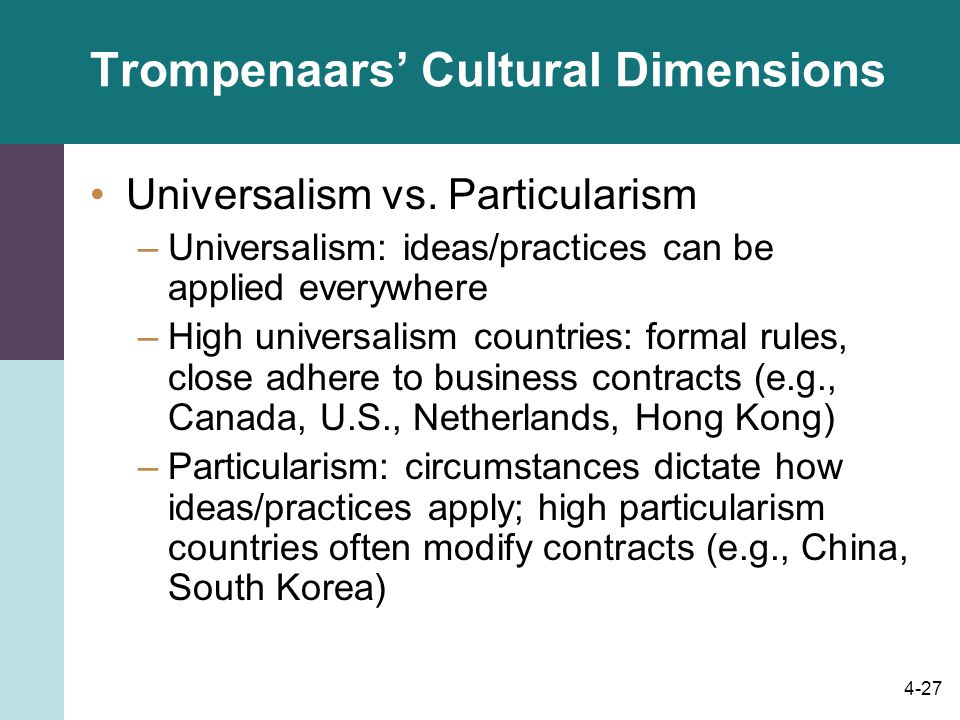 dimensions of trompenaars Fons trompenaars model of culture edit organized in 7 cultural dimensions, trompenaars and hampden-turner structured their findings into a guideline that can be.