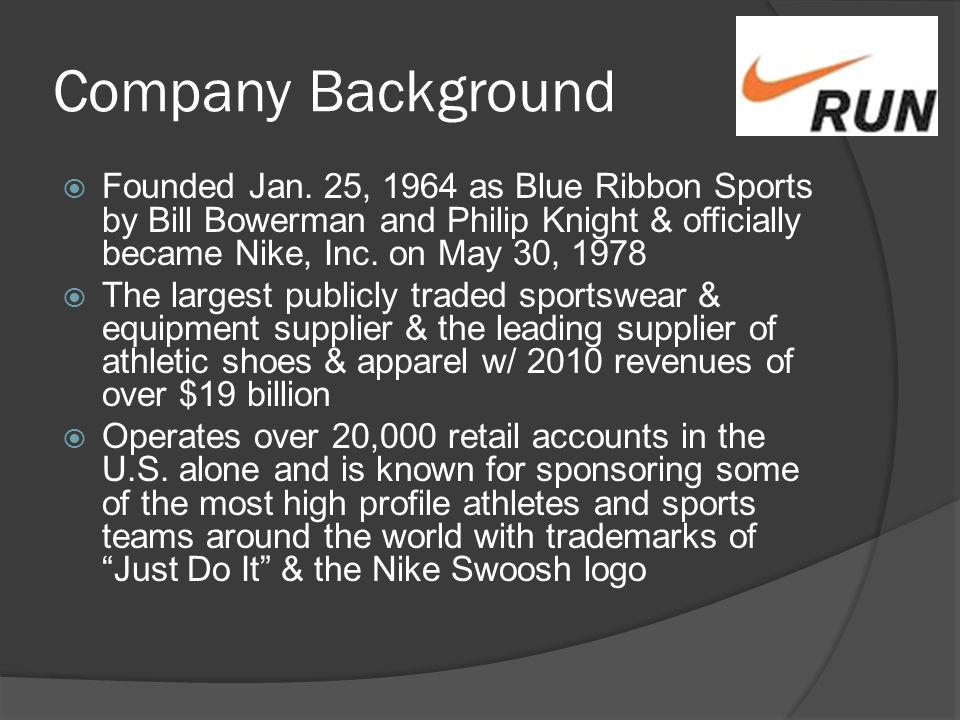 the history of nike inc essay The company started with making running shoes and now has become one of the   global marketing activities is telling a story about the nike brand (nikeinccom,  2012)  crreport/content/environment/4-4-0-case-study-greenxchangephp.