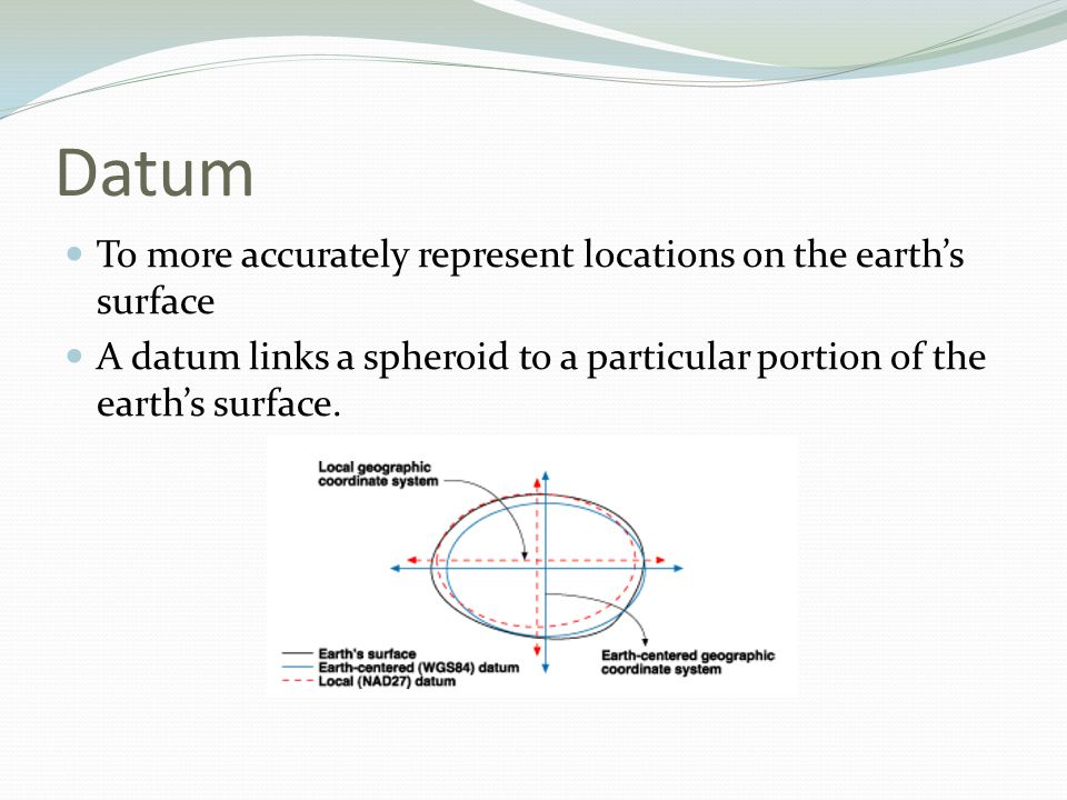 Datum To more accurately represent locations on the earth's surface