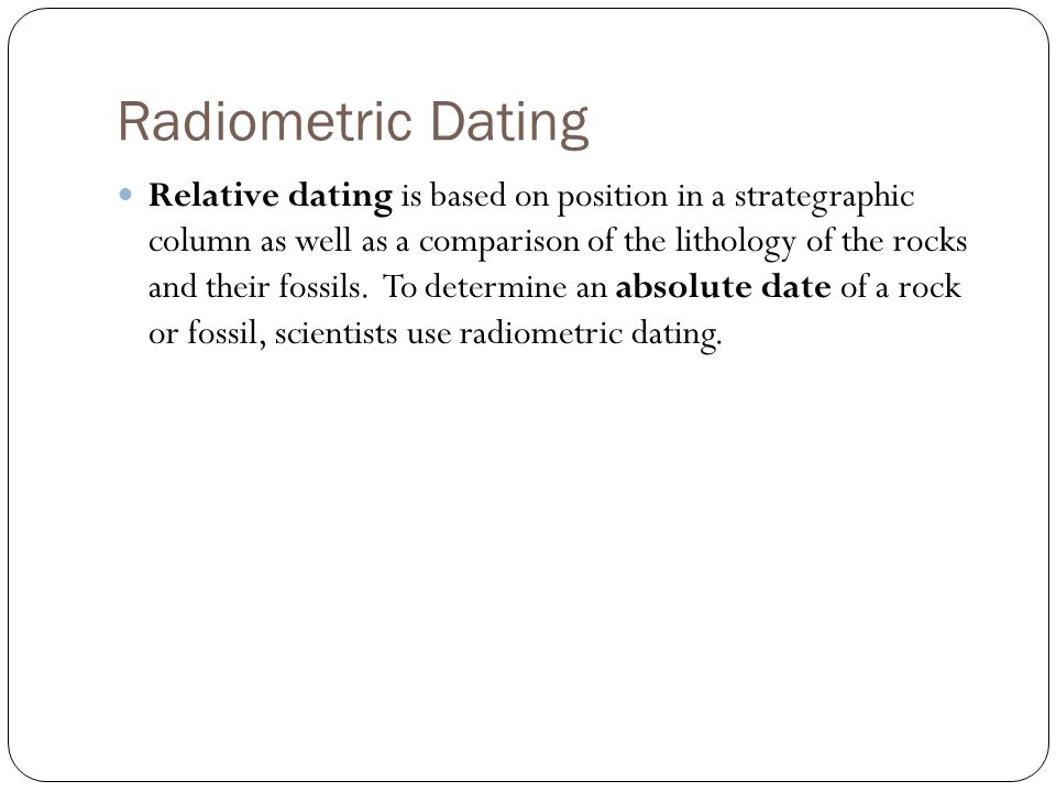 difference between relative and radiometric dating of fossils