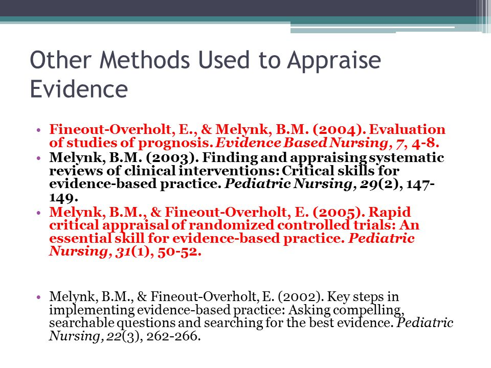 evidence critical appraisal nursing The latest evidence-based clinical information for nursing practice, education, and research includes quick lessons, care sheets, worksheets, skill checklists, cultural competencies, drug information, patient handouts, guidelines, nursing care plans, illustrations, videos and images, and management and leadership topics.