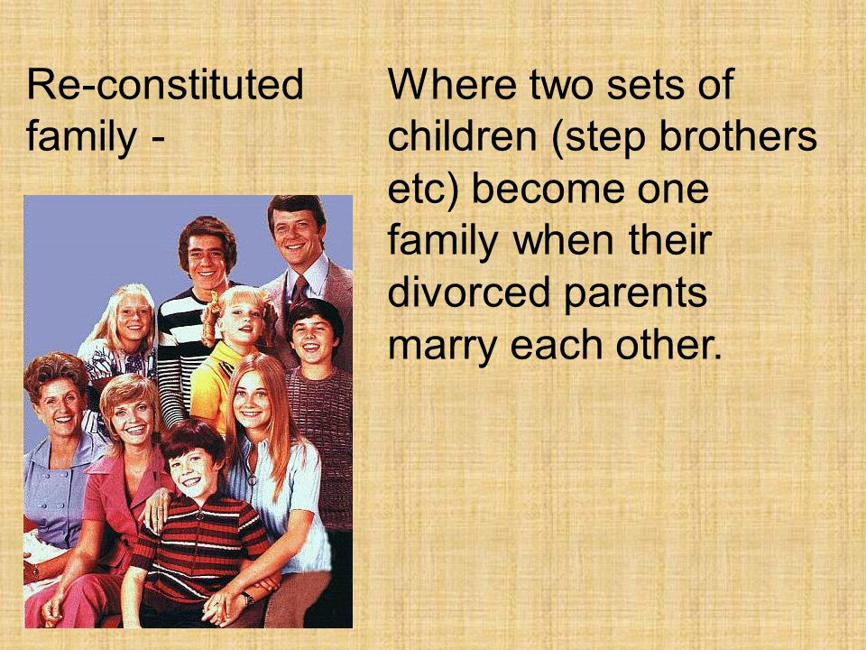 Re-constituted family -
