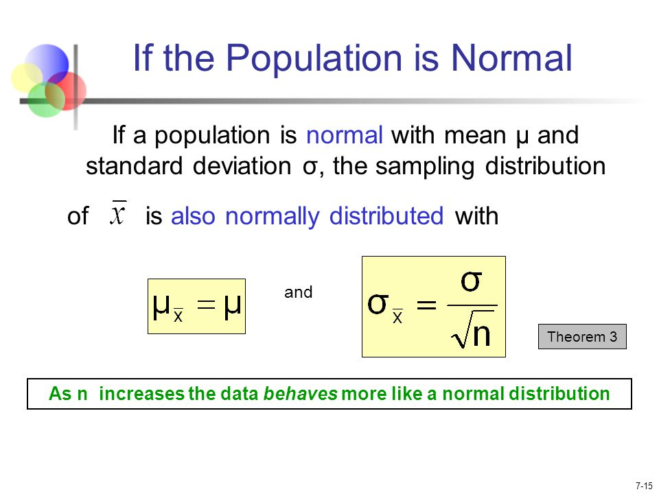 normal distribution and population mean The normal distribution  interpretation: for a normal population with mean of 0  and standard deviation of 1, about 0066 = 66% of of the data values are less.