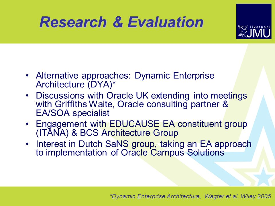 Research U0026 Evaluation Alternative Approaches: Dynamic Enterprise  Architecture (DYA)*