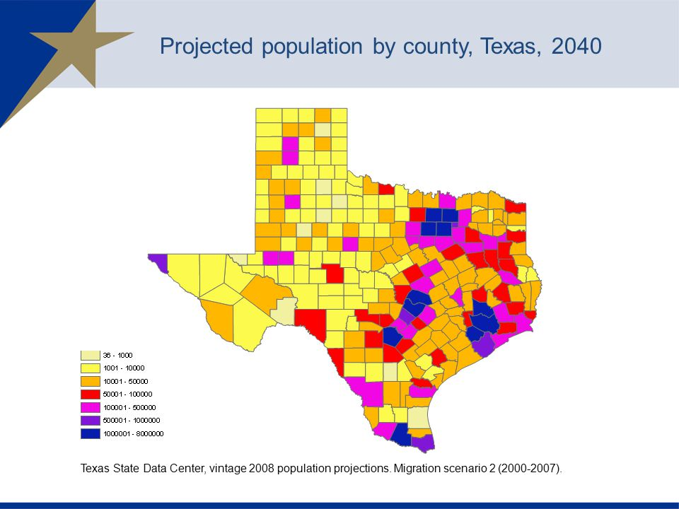 Projected population by county, Texas, 2040