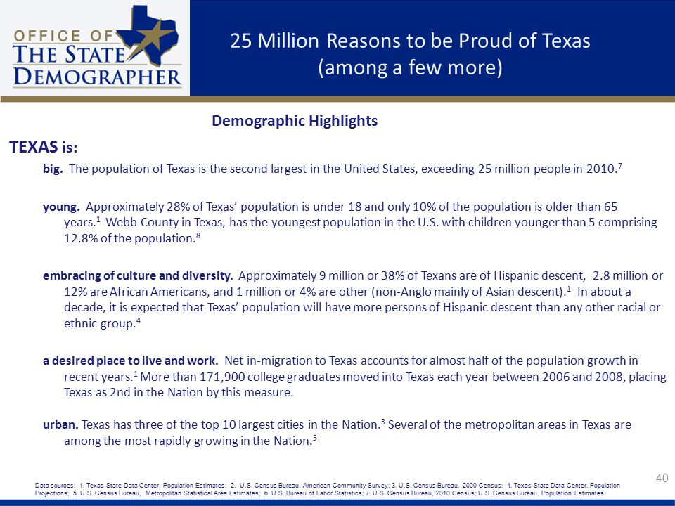 Changing demographics in texas ppt video online download for Bureau county metro center