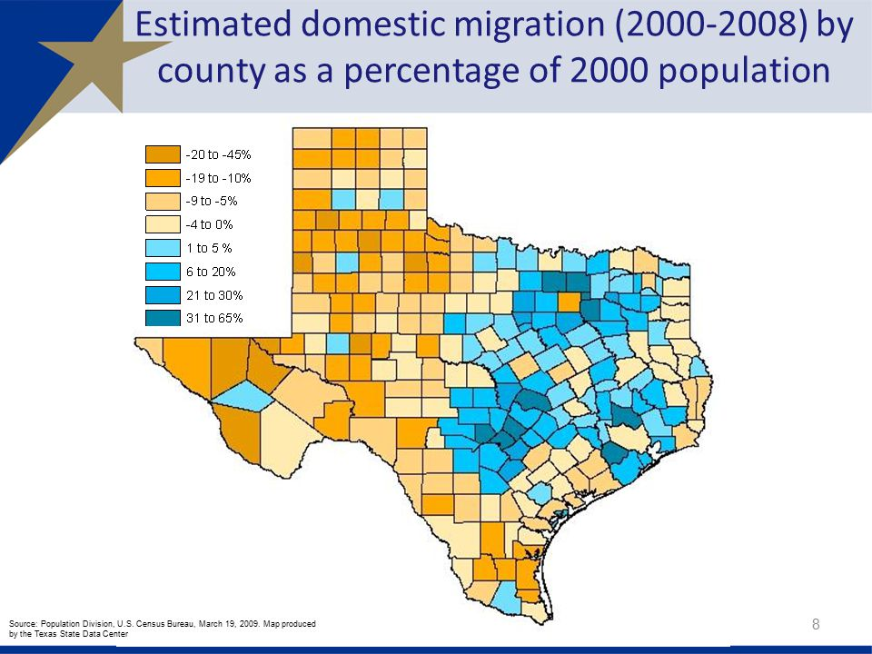 Estimated domestic migration ( ) by county as a percentage of 2000 population