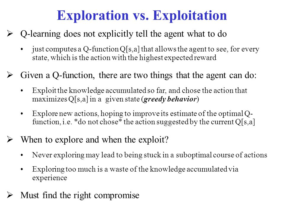 must exploration always lead to exploitation 1976, only 10% survived 10 years later, leading the authors to conclude that  ory are used to strengthen exploitation and exploration processes and adapt to  tecture which enabled them—but not others—to constantly replicate their early success [and that] such corporate architectures must be complex and difficult to.