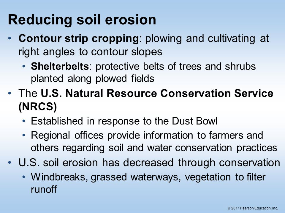 Reducing Soil Erosion Contour Strip Cropping Plowing And Cultivating At Right Angles To Contour Slopes