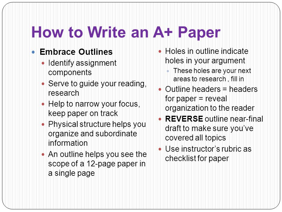 How to Write an Outline for a Research Paper of A+ Level?