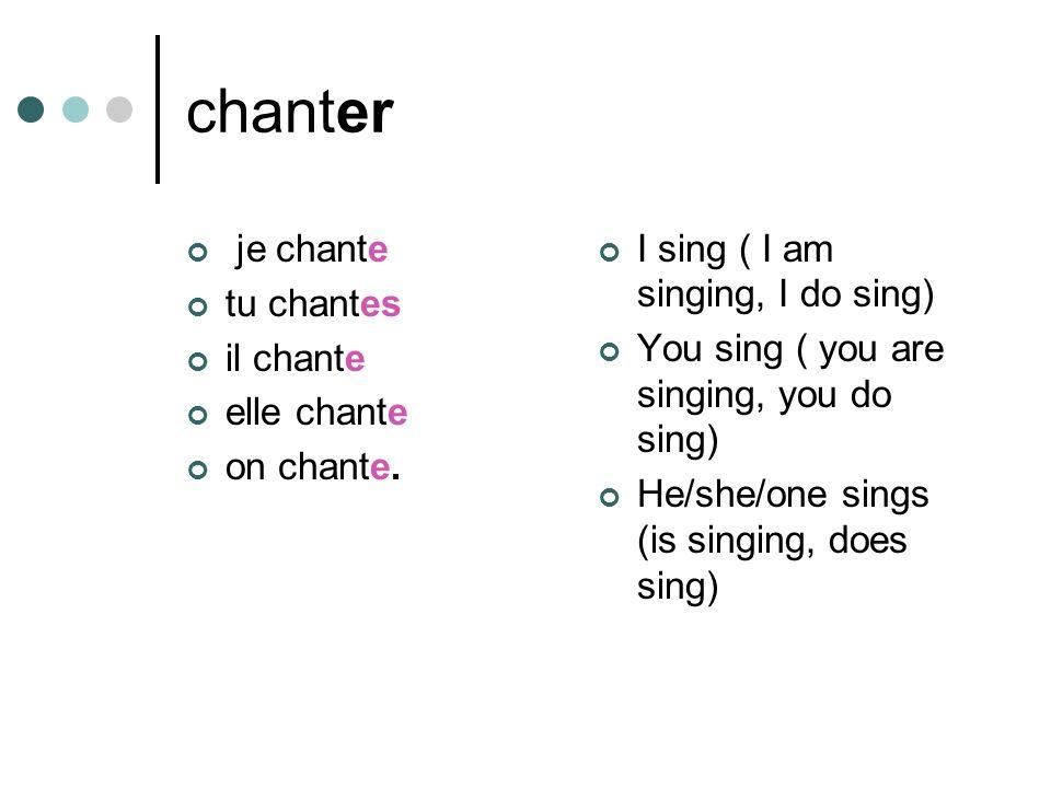chanter je chante tu chantes il chante elle chante on chante.
