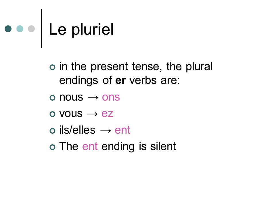 Le pluriel in the present tense, the plural endings of er verbs are: