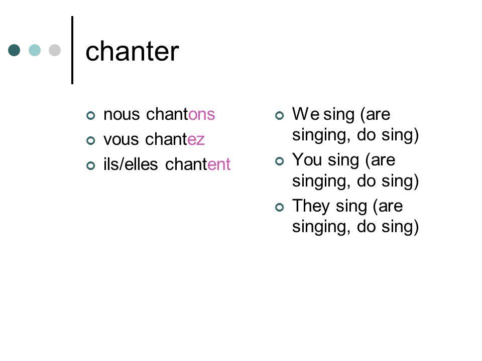 chanter nous chantons vous chantez ils/elles chantent