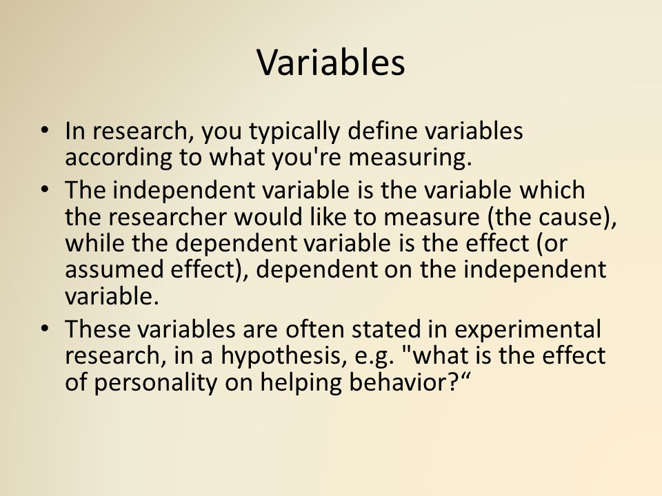 Research Variables