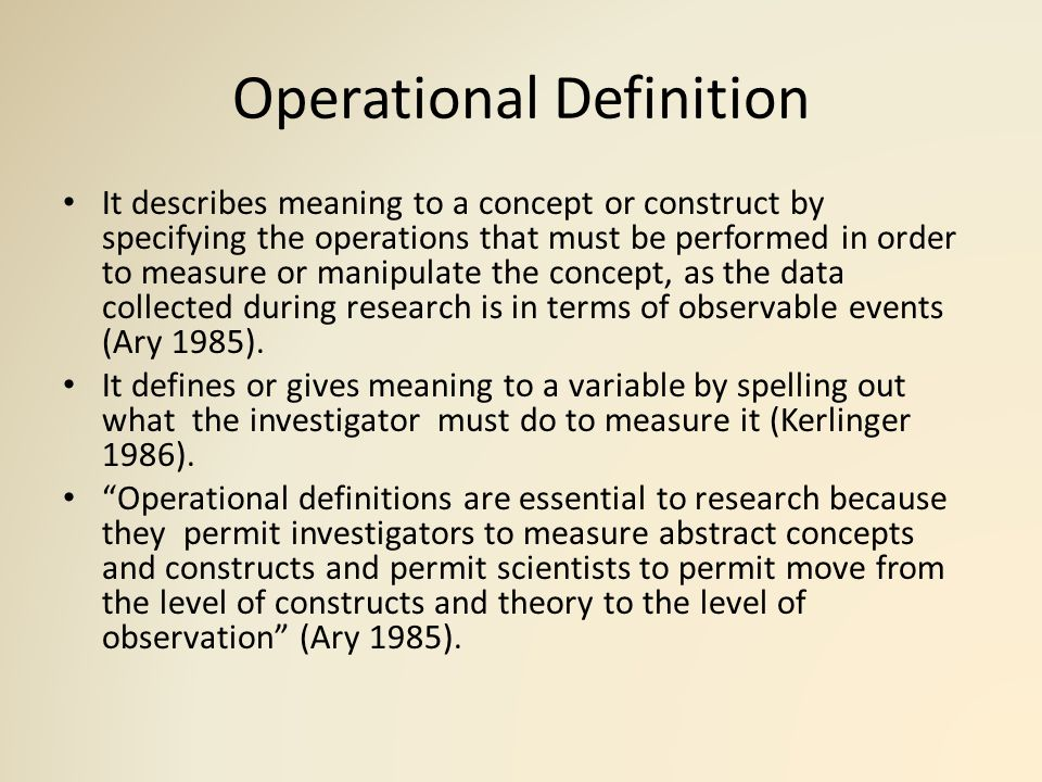 how to create an operational definition of a construct