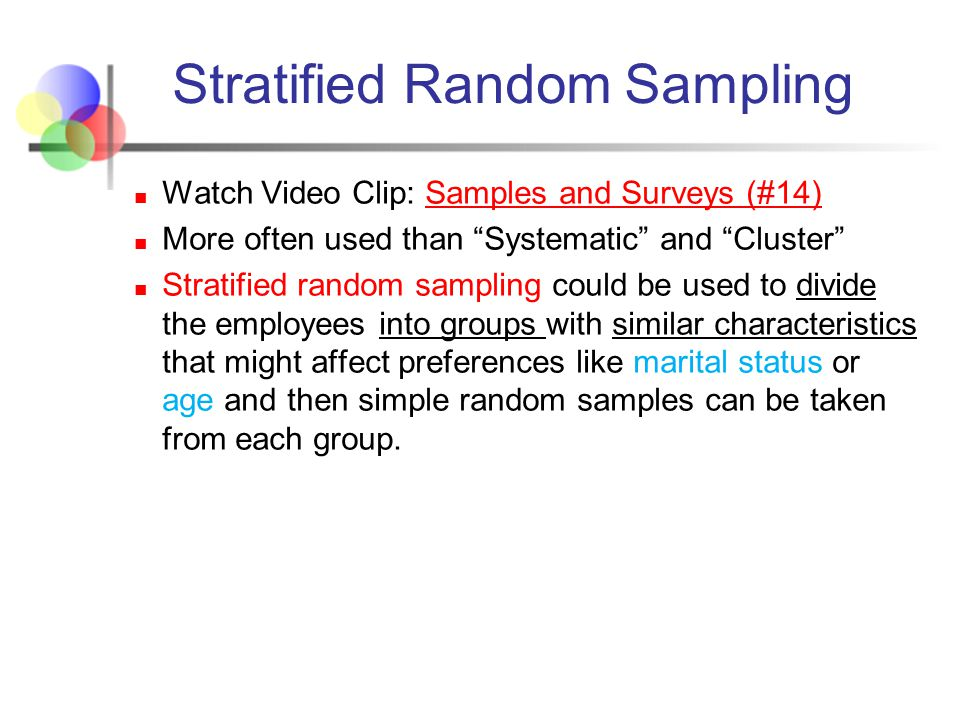 why use random sampling in research Based on results obtained from a sample, researchers may draw their  conclusions  most population-based studies use a random error ranging from 2  to 5.