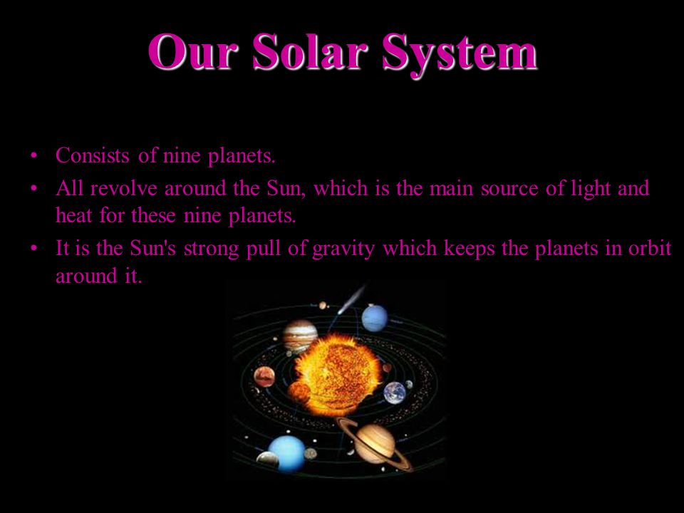 Our Solar System Consists of nine planets.