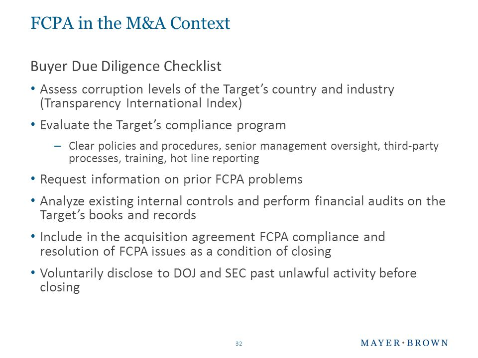 checklist integrity due diligence