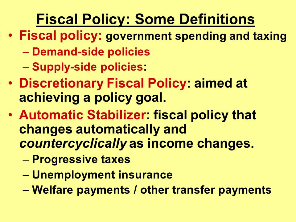 Fiscal Policy: Some Definitions