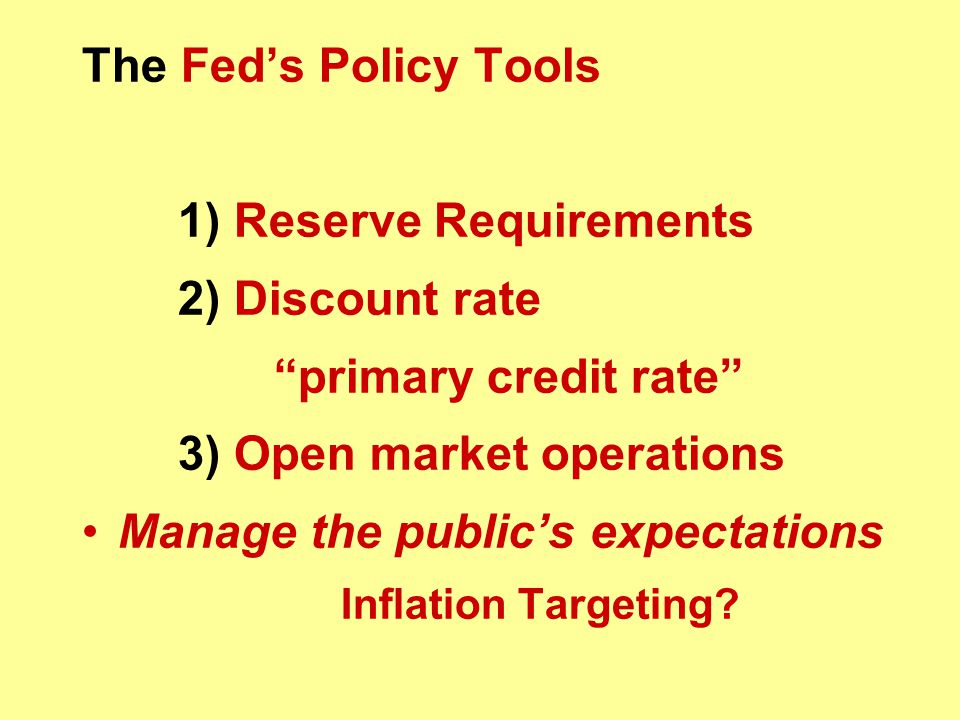 3) Open market operations Manage the public's expectations