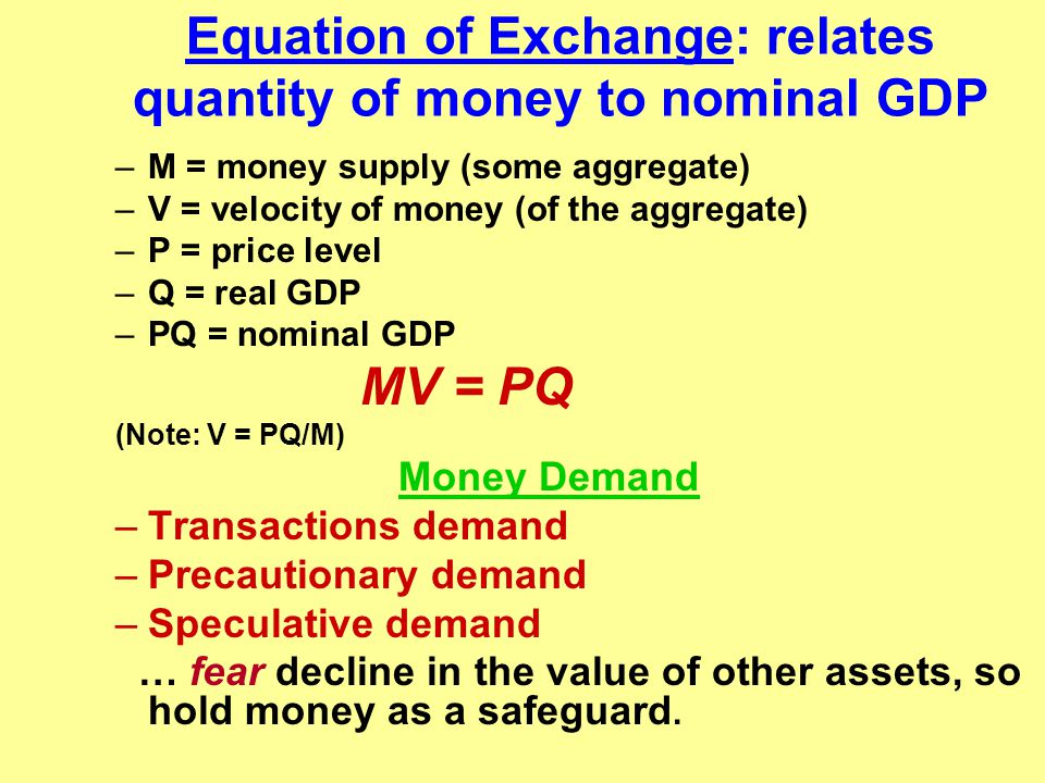 Equation of Exchange: relates quantity of money to nominal GDP