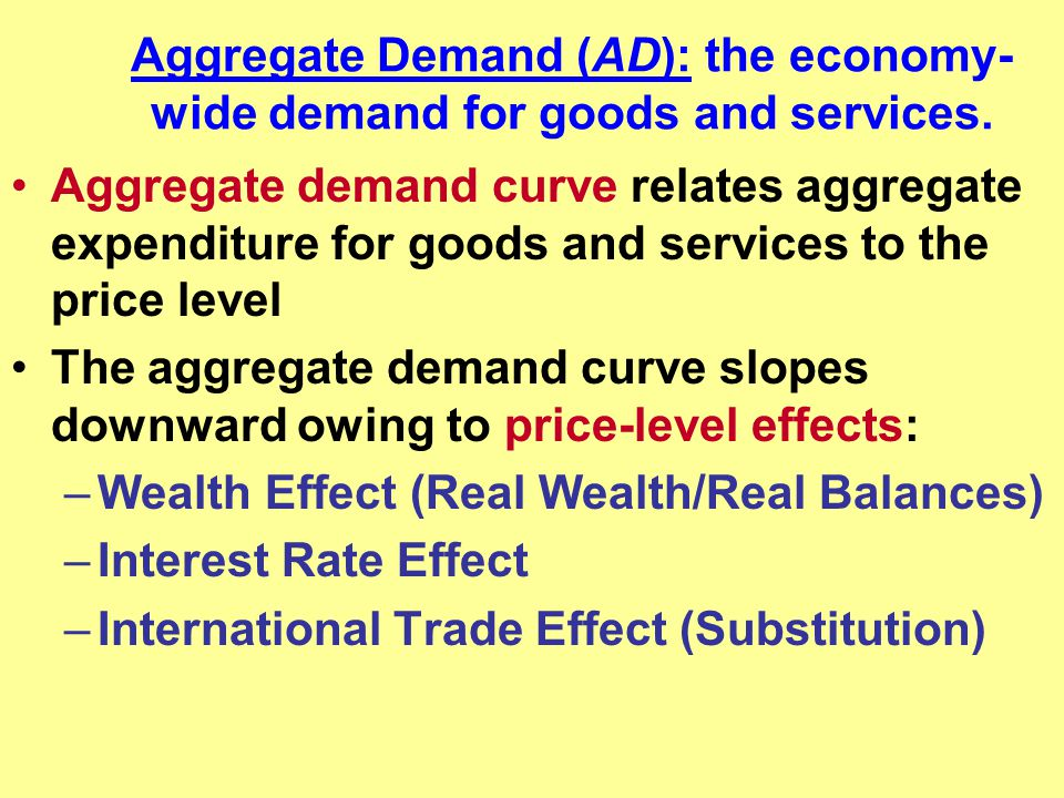 Aggregate Demand (AD): the economy-wide demand for goods and services.