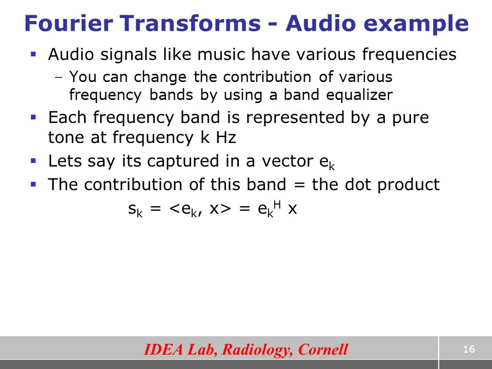 Fourier Transforms - Audio example