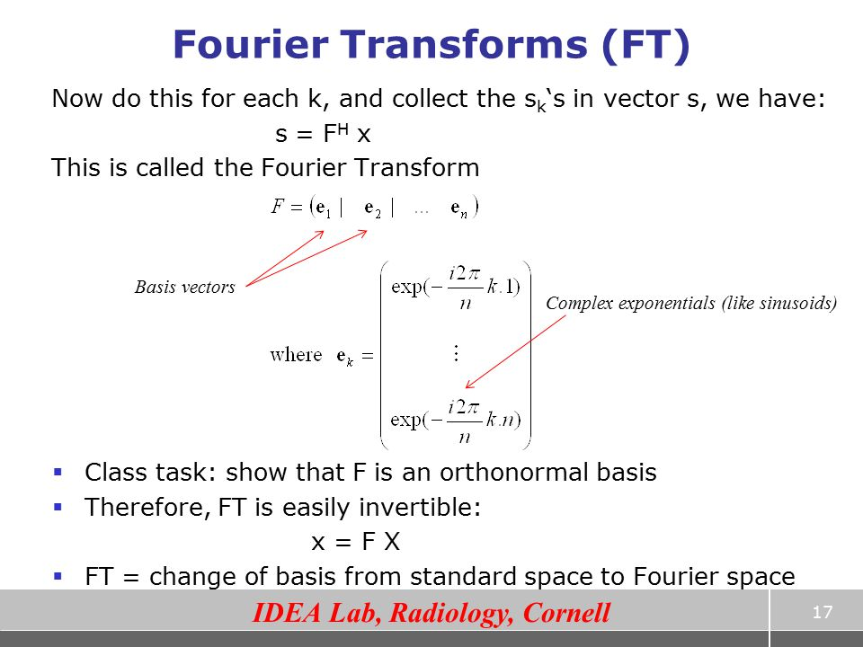 Fourier Transforms (FT)