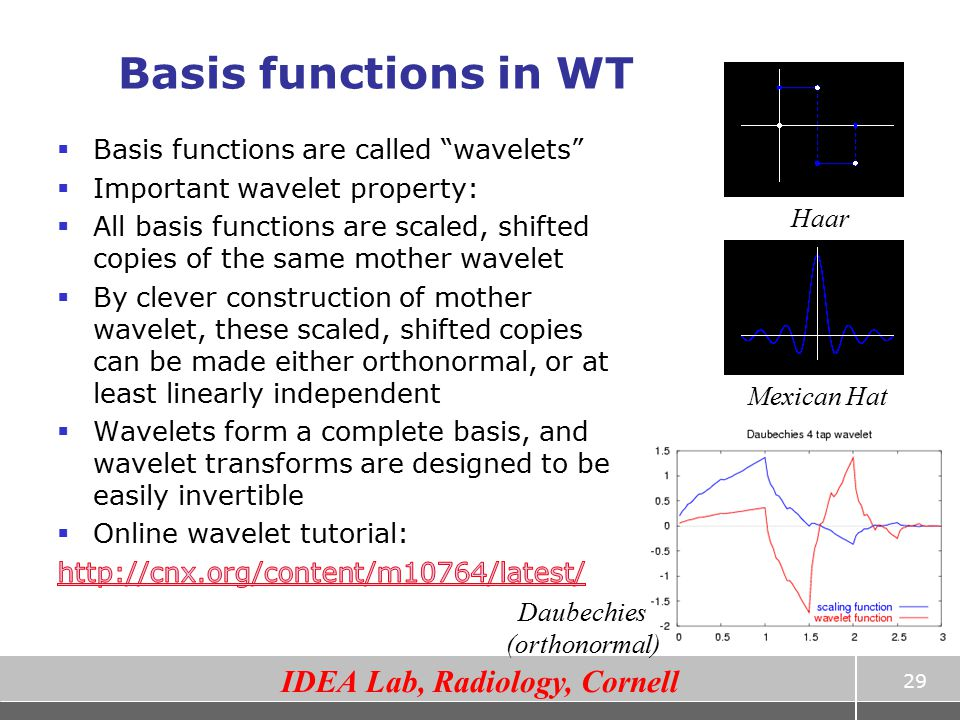 Basis functions in WT Basis functions are called wavelets
