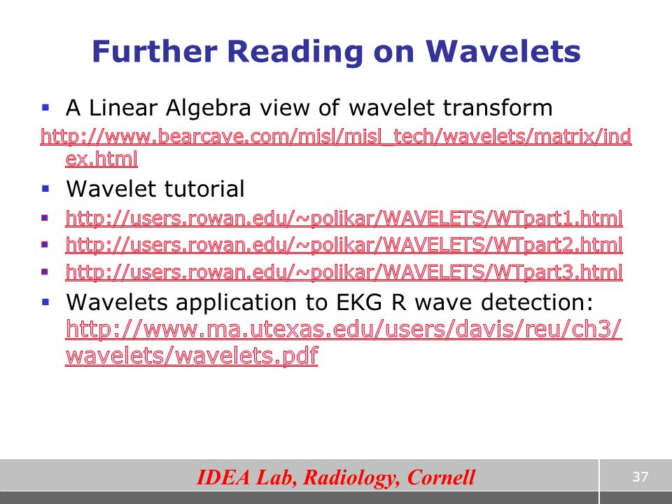 Further Reading on Wavelets