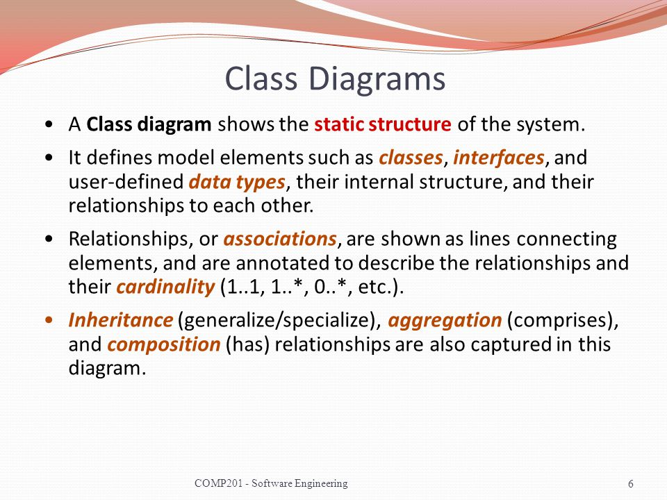 class diagrams a class diagram shows the static structure of the system - Types Of Software Diagrams