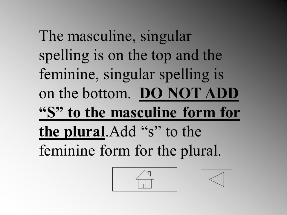 The masculine, singular spelling is on the top and the feminine, singular spelling is on the bottom.
