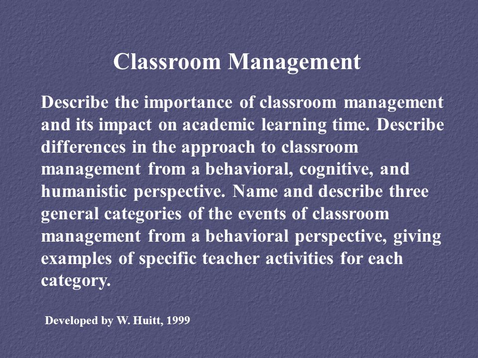 importance of good classroom management
