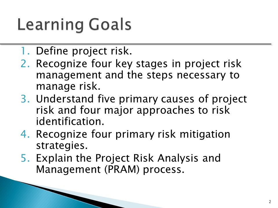 Learning Goals Define project risk.