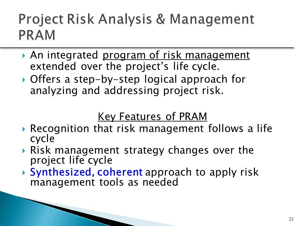 Project Risk Analysis & Management PRAM