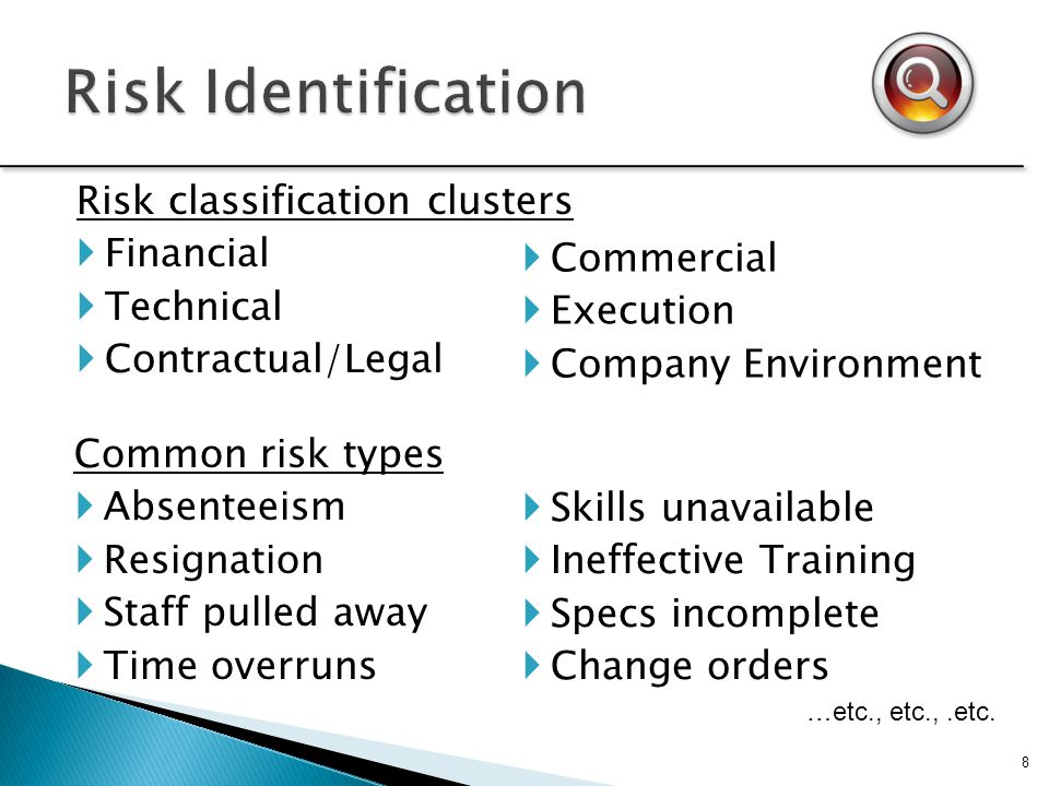 Risk Identification Risk classification clusters Financial Technical