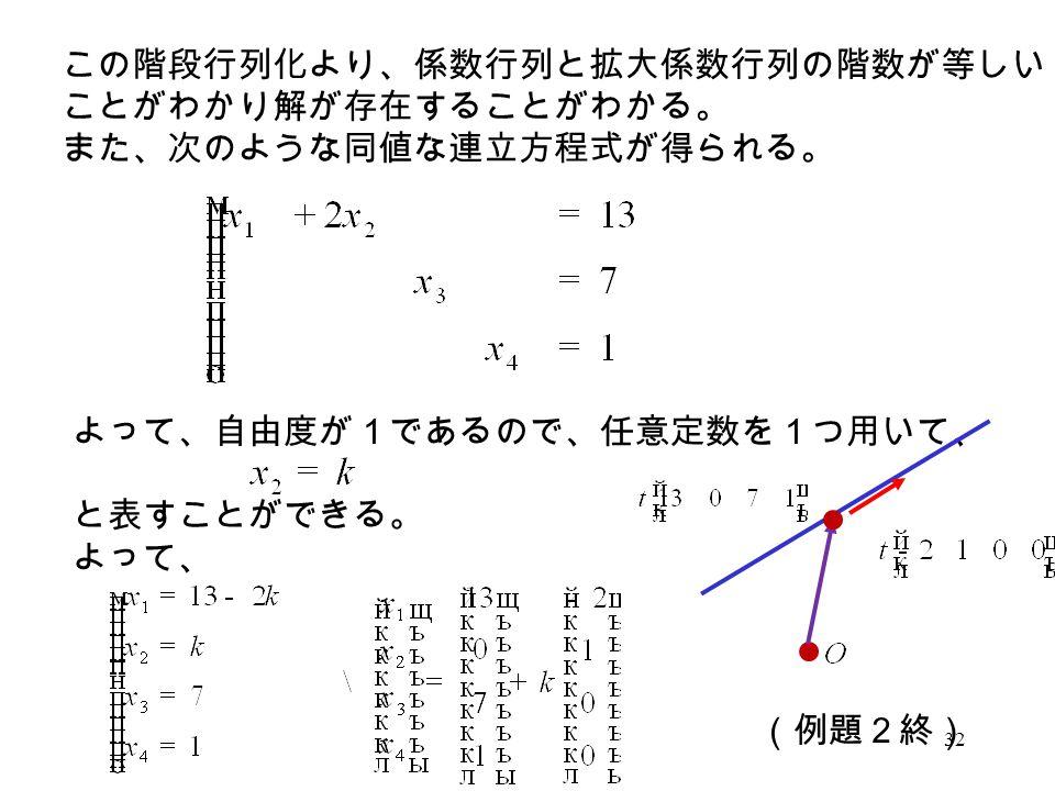 この階段行列化より、係数行列と拡大係数行列の階数が等しい