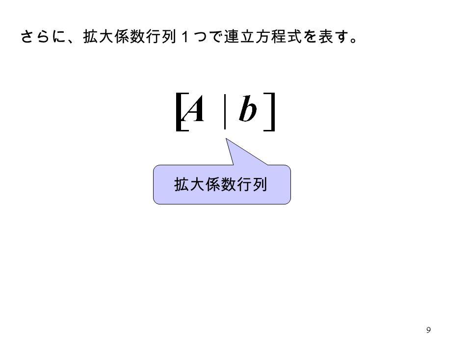 さらに、拡大係数行列1つで連立方程式を表す。