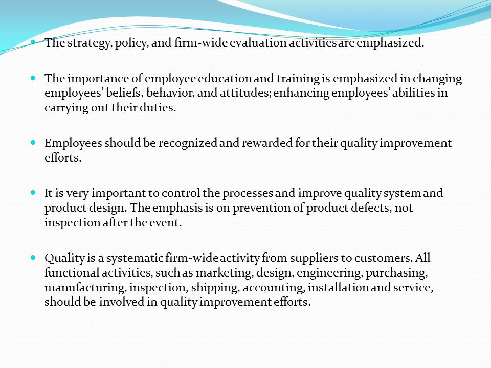 The strategy, policy, and firm-wide evaluation activities are emphasized.