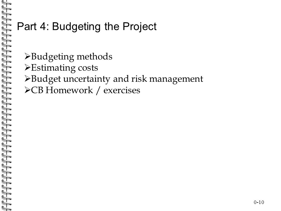 Part 4: Budgeting the Project