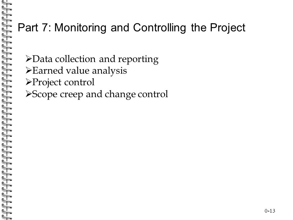 Part 7: Monitoring and Controlling the Project